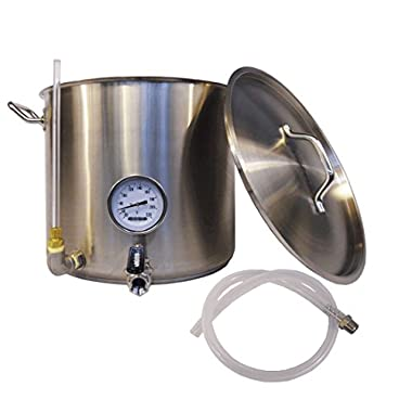 HomeBrewStuff 8 Gallon (32qt) Stainless Steel Hot Liquor Tank (HLT) Home Beer Brewing kettle, with Sight Glass, Valve, and Thermometer - Includes SS Barb and Silicone Tubing