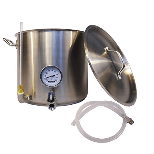 HomeBrewStuff 8 Gallon (32qt) Stainless Steel Hot Liquor Tank (HLT) Home Beer Brewing kettle, with Sight Glass, Valve, and Thermometer - Includes SS Barb and Silicone (Hot Liquor Tank)
