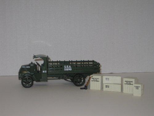 First Gear Die Cast, 19-2547, Mack AC Model Bulldog Stake Truck with U. S. Army Logo, 1/34th Scale