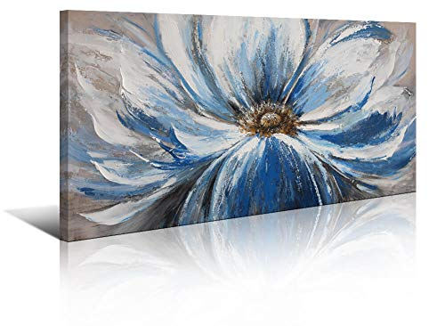 Yiijeah Large White Blue Flower Canvas Painting Wall Art Decor for Living Room Office Bedroom Modern Artwork Home Decoration Large Size 24x48