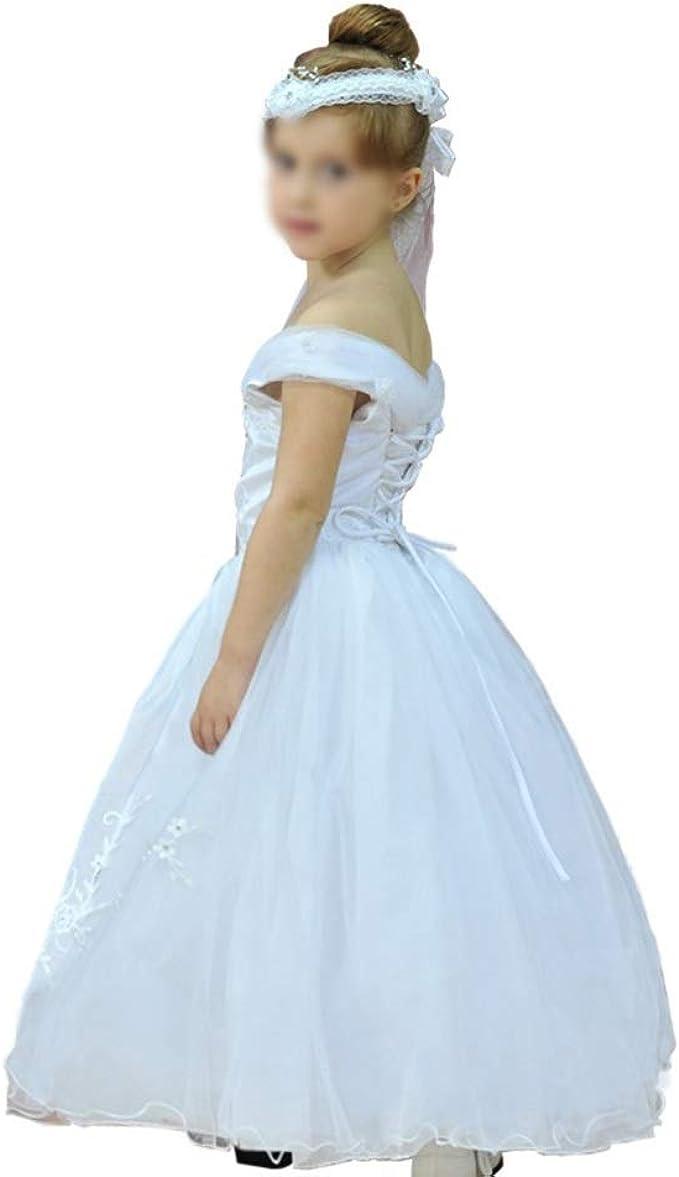 JKHOIUH Vestidos de baile de tul de un solo hombro for niñas ...