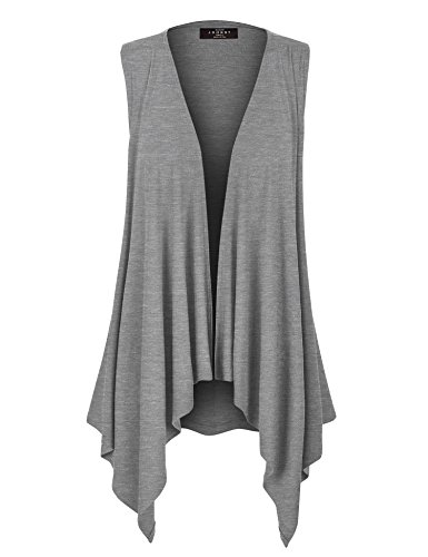 Made By Johnny WSK1071 Womens Lightweight Sleeveless Draped Open Cardigan XXXL Heather_Grey