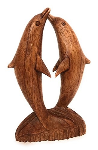 TikiMaster Kissing Dolphins Jumping 8'' Stained - Hand Carved | #dag0220 by TikiMaster