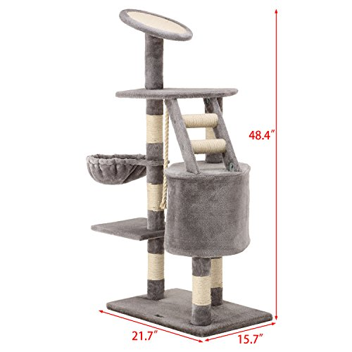 Ollieroo 48 h cat climbing tree tower condo scratcher for Cat tower with hammock