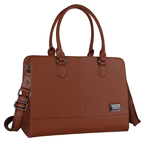 MOSISO Laptop Tote Bag for Women (Up to 15.6 Inch), Premium PU Leather Large Capacity with 3 Layer Compartments Business Work Travel Shoulder Briefcase Handbag, Brown