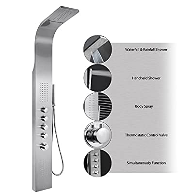 "AKDY 63"" Stainless Steel Thermostatic Rainfall Waterfall Style Multi-Function Shower Tower Panel Massage System w/ Handheld Wand from AKDY"