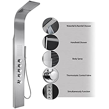 """AKDY 63"""" Stainless Steel Thermostatic Rainfall Waterfall Style Multi-Function Shower Tower Panel Massage System w/ Handheld Wand"""