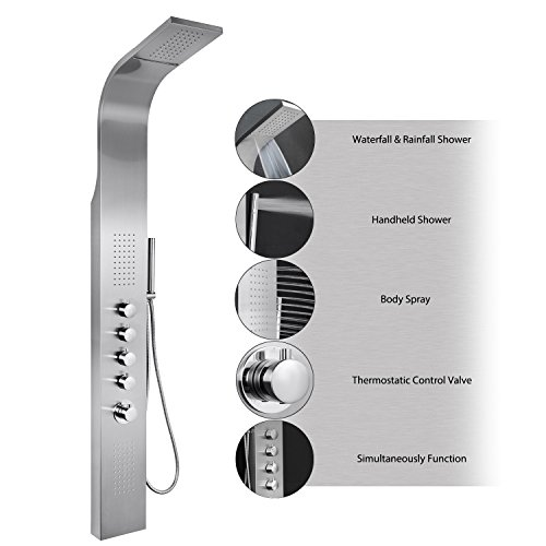 "AKDY 63"" Stainless Steel Thermostatic Rainfall Waterfall Style Multi-Function Shower Tower Panel Massage System w/ Handheld Wand AKDY"