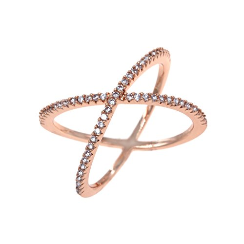 Cross Cocktail Ring (Single X Cross Rings Trendy Fashion Statement Clear CZ Cocktails Jewelry Size 5 - 10 for Women (Rose Gold, 10))