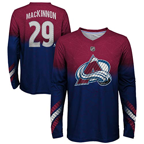 Colorado Avalanche T-shirt - Outerstuff Youth Colorado Avalanche Nathan MacKinnon #29 Long Sleeve Name and Number Carbon T-Shirt (Youth X-Large (18/20))