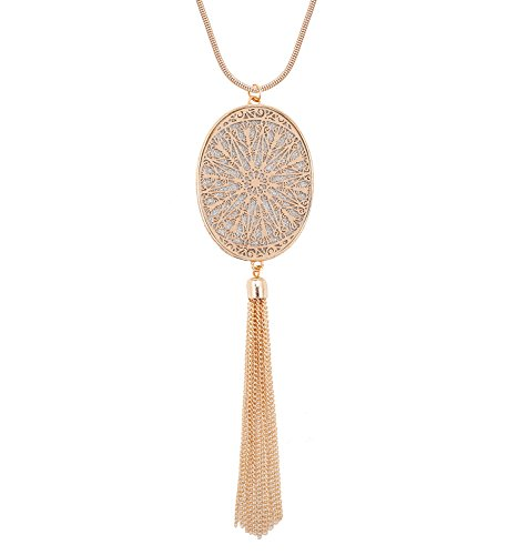Long Necklaces for Women Disk Oval Pendant Necklace Bohemia Tassel Necklace Set Fashion Y Necklaces Statement Jewelry (Oval-Gold) by LPON (Image #7)