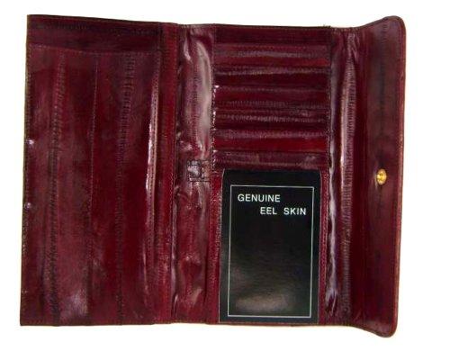 Ladies Eel Skin - Eelskin Woman's Wallet style - E2575,Burgundy,Regular