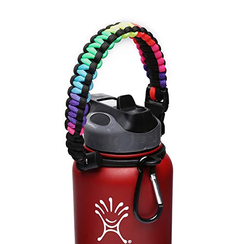 Handle/Carrier for Hydro Flask Wide Mouth Water Bottle with Security Ring,Paracord Survival Strap Handles Include Carabiner and Instructions (Blackcolorful-N)
