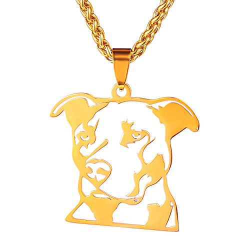 Dogdotnet 12K Gold Plated Stainless Steel Natural Ear Pitbull Pit Bull Staffordshire Bull Terrier Dog Head Outline Pet Dog Tag Breed Collar Charm Pendant PLUS Gold Plated Chain Necklace by Dogdotnet