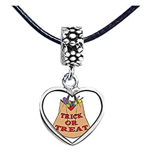 Chicforest Silver Plated Halloween trick or treat shopping bag Photo Flower Head Dangle Heart Charm Beads Fits Pandora Bracelet