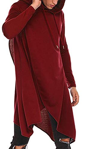 JOKHOO Mens Casual Hooded Poncho Cape Cloak Irregular Hem Hoodie Pullover (Red, -