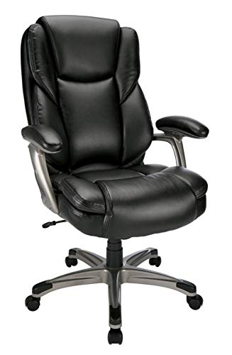 - Realspace Cressfield Bonded Leather High-Back Chair, Black/Silver