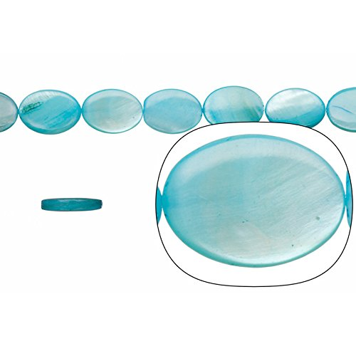 Shell Bead, Sky Blue(Dyed) Mother-of-Pearl, Oval Plate, 18x13mm 16 Inch/pack (3-pack Value Bundle), SAVE $2