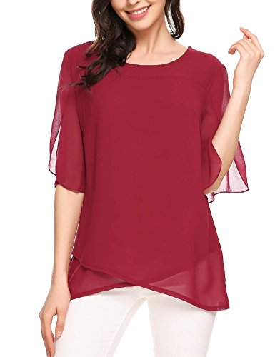 ELESOL Women Casual Chiffon Layer Round Neck Solid Blouses Shirts Wine Red M