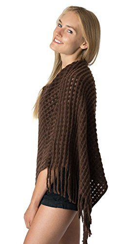 hort Open Knit Asymmetric Soft Plush Pullover Sweater Poncho Shawl Wrap with Fringe (Juniors Open Weave)