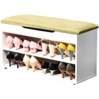 ONEISALL HH-XT03-80-W-G Wooden Shoe Cabinet, Entryway Shoe Rack, Cushioned Bench with Storage