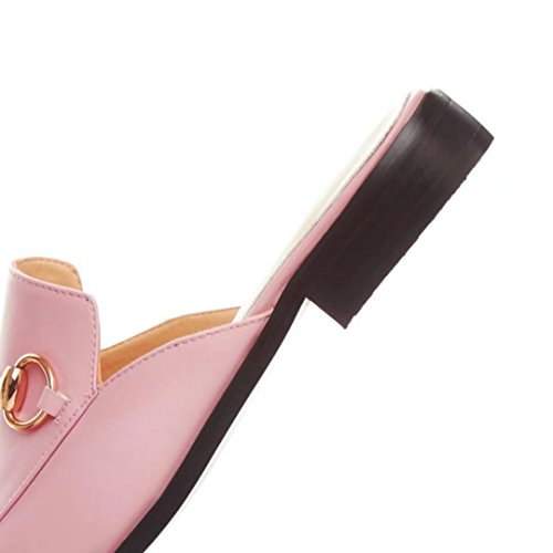 Jyshoes Pantofole Chiuse Signore Estate Muli Piatti Muli In Pelle Comode Pantofole Rosa