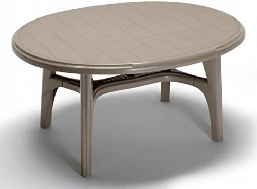 Ideapiu Table de Jardin en Plastique, Table de Jardin Ovale ...