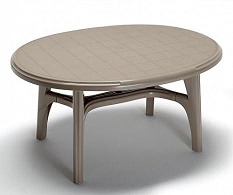 Ideapiu Table de Jardin en Plastique, Table de Jardin Ovale ...