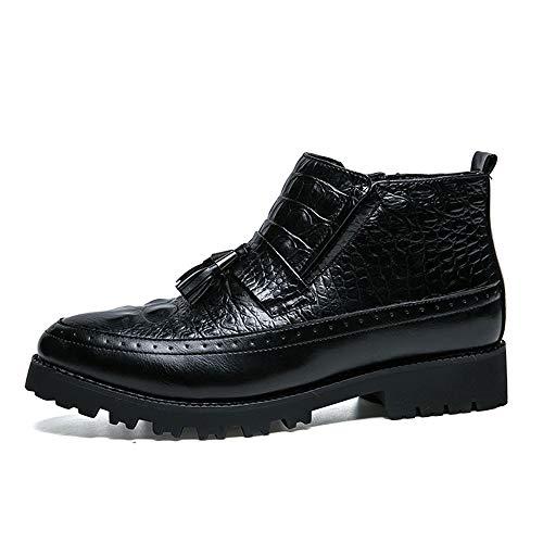Warm Chic Zapatos Hombres Tobillo Botas Formal Costura caliente 37 Negro Con Elegante Tamaño Los color Eu Opcional Casual Flecos Jusheng Black De Formales W7nxdATEY