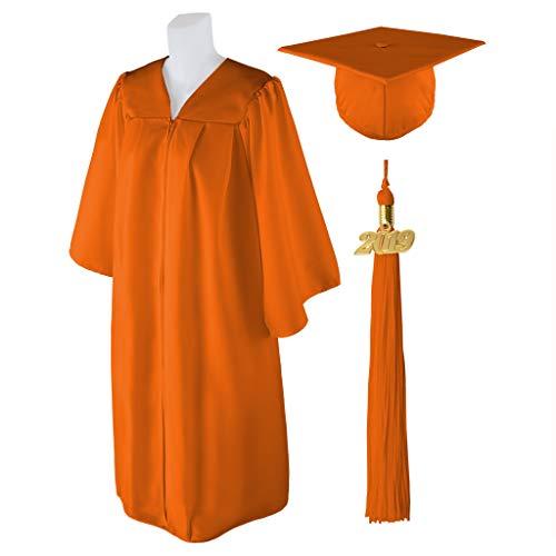 - Class Act Graduation Standard Matte Graduation Cap and Gown with Matching 2019 Tassel - ORANGE - Size 5'0
