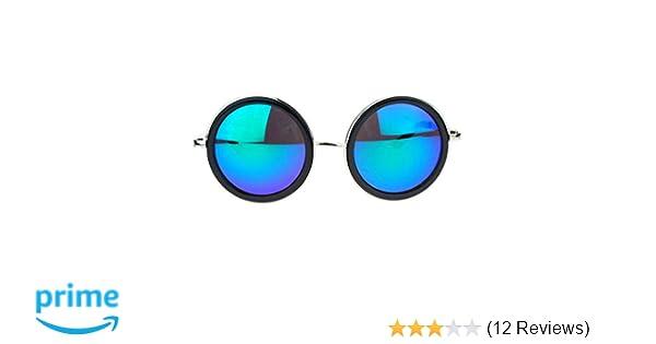 310b6339c1aec Amazon.com  Side Visor Circle Round Retro Victorian Steam Punk Mirrored Lens  Sunglasses Black Teal  Clothing