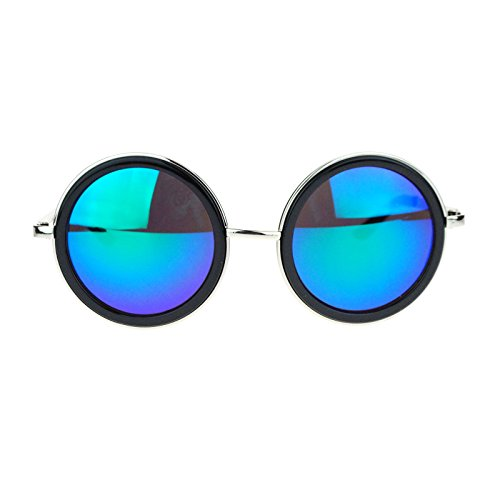 Side Visor Circle Round Retro Victorian Steam Punk mirrored Lens Sunglasses Black - Sunglasses Victorian Retro
