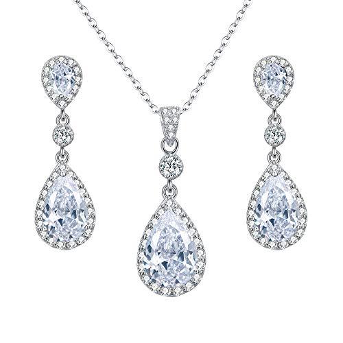 EleQueen 925 Sterling Silver Full Cubic Zirconia Teardrop Bridal Pendant Necklace Dangle Earrings Set Clear