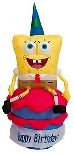 Gemmy Self-Inflating Sponge Bob Indoor Birthday Decor, 4-Feet ()