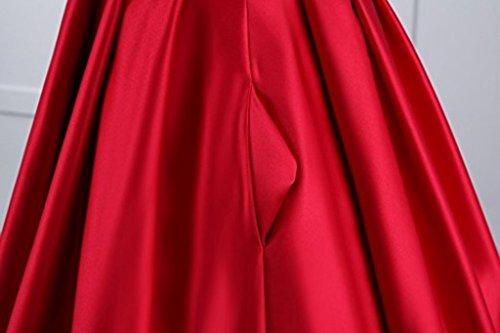 Licheng Longue Soirée De Femmes Mariée Robe Formelle De Manches À Encolure En V Avec Des Poches Au Large Des Robes De Bal Perles Épaule De Satin Marine Longueur De Plancher