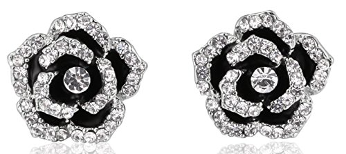 (MISASHA Fashion Jewelry Classic Camellia Shape Encrusted Rhinestone Earrings)
