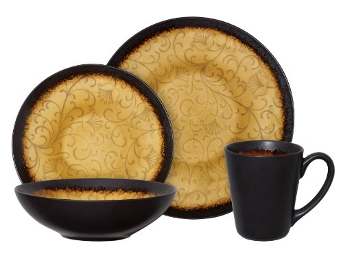 Amazon.com | Gibson Bonham 16 Piece Reactive Glaze Stoneware Dinnerware Set,  Amber: Dinnerware Sets