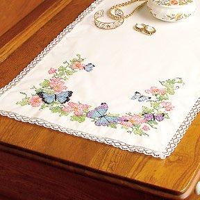 Dresser Scarf Butterflies (Butterfly Dreams Dresser Scarf Stamped Cross Stitch-36 Inch x14 Inch)