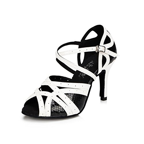 XUE Women's Latin Shoes Satin Sandal/Sneaker/Heel Practice Buckle/Hollow-out Flared Heel Dance Shoes Black Party & Evening (Color : 41) 33 OluLUVU7E8