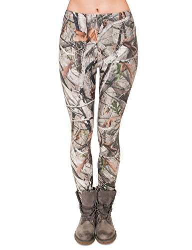 PINK PLOT Basic Printed Leggings Patterned High Elasticity Pants for Women Girls One Size-Fit XS-L X Camo Trees