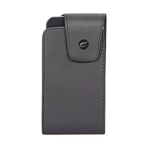 Black Leather Phone Case Cover Pouch Swivel Belt Clip for Verizon Blackberry Storm-2 9550 - Verizon Blackberry Tour 9630 - Verizon HTC Droid Eris ()