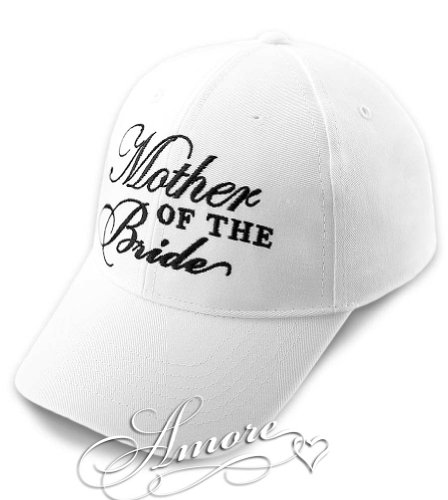 MOTHER of BRIDE Wedding Baseball Cap White Hat with Black Embroidery 100% Cotton ()