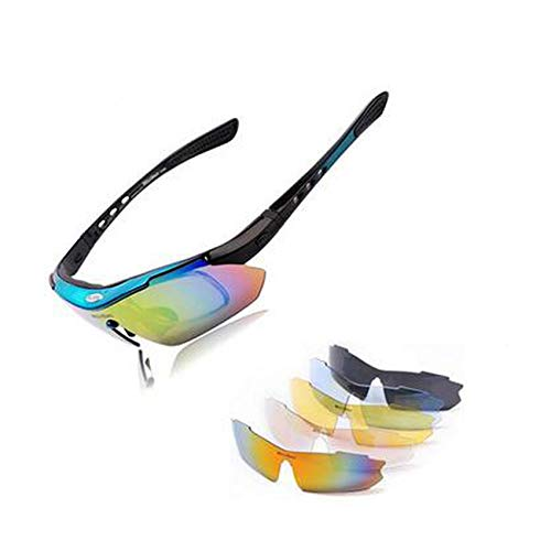 Varifocal Lens Stand - Flower falling Polarized Sports Men Sunglasses Cycling Glasses Mountain Bike Bicycle Riding Protection Goggles Eyewear 5 Lens,Blue
