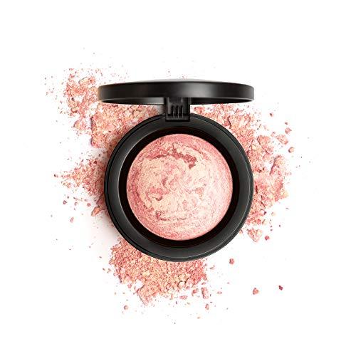 Mirenesse Marble Mineral Blush Face Powder, Baked Mineral Powder Blush Highlighter, Natural Glow Finish, Soft Velvet Texture, Vegan Toxin Free, 1 Paros Pink 0.42oz