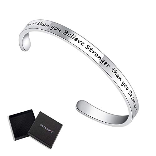 TONY & SANDY Inspirational Gifts Bracelet Cuff Bangle Women Mantra Quote Positive Saying (You are Braver Than You Believe Stronger Than You Seem and Smarter Than You -
