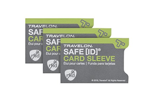 Travelon Safe Id Set of 3 RFID Blocking Sleeves, Gray