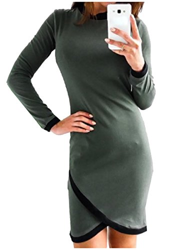 Long Comfy Sexy Women sleeve Color Fit Silm Stitch Dresses Stylish Green rXZIwX