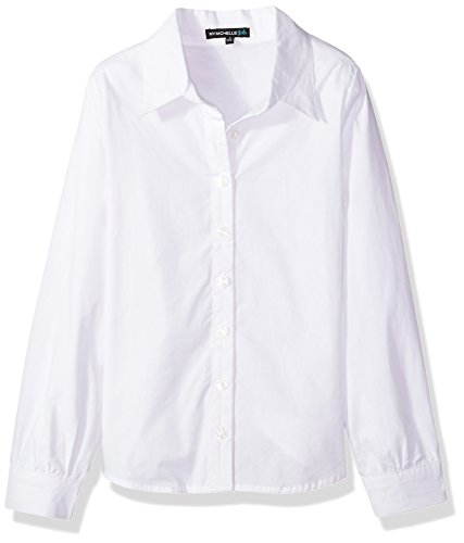 My Michelle Big Girls' Button up Shirt, White, M