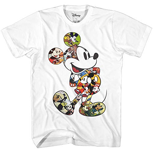 Mickey Mouse Scene Me Vintage Classic Disneyland World Men's Adult Graphic T-Shirt (White, Large) (Cartoon T Shirt Men)