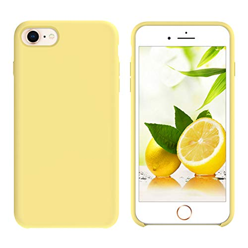 GUAGUA iPhone 7 Case iPhone 8 Case Liquid Silicone Gel Rubber Cover with Soft Microfiber Cloth Lining Cushion Slim Fit Anti-scratch Shockproof Bumper Protective Phone Case for iPhone 7/iPhone 8 Yellow